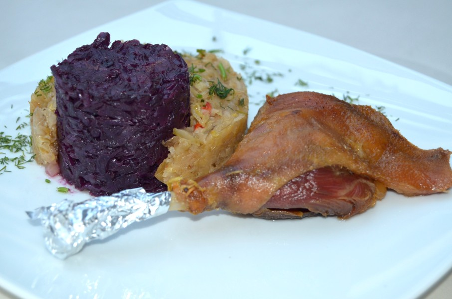 Bavarian Style Duck Leg Confit with Cabbage