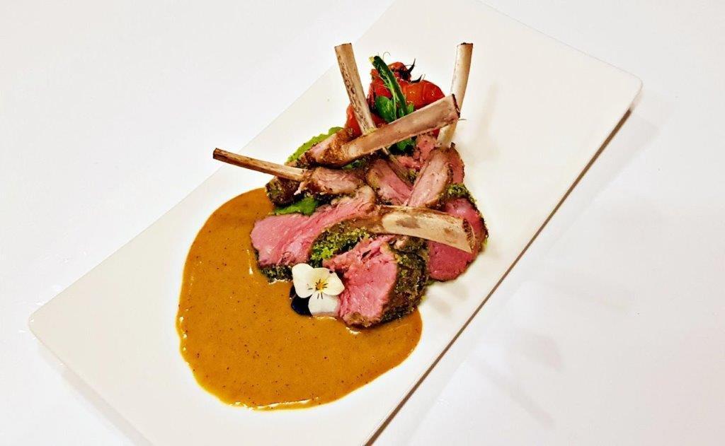 Herbs-Crusted Lamb Chops with Mushy Peas