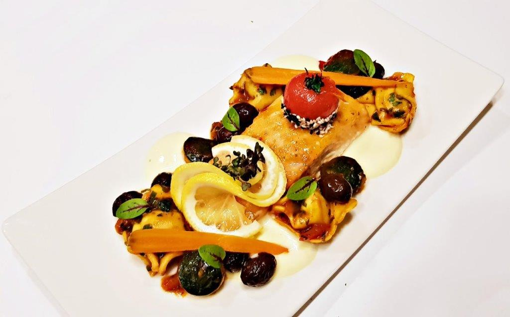 Salmon Fillet in Spicy Citrus Crust, Served with Tortellini and Kalamata Olive Sauce (2)
