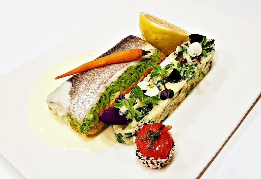 Fish Trilogy with Rice, Spinach & Citrus Sauce